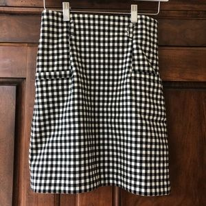 Forever 21 Black Plaid Check Pencil Skirt Size S